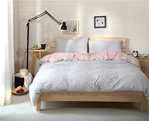 Kpblis174; 家用纺织格子系列,柔软长纤维针织棉条纹床上用品套装 4 件套,全套/大号/大号/粉色和灰色 粉红色 全部 BS59PP01F