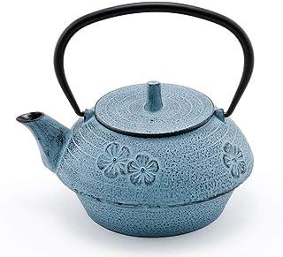 Hinomaru Collection Artisan Workshop 蓝色 Umei Plum Blossom 日本胎茶壶铸铁茶壶 带不锈钢保温壶 40 盎司