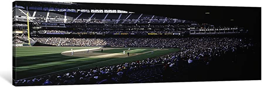 iCanvasART PIM6372-1PC3-48x16 Baseball Players Playing Baseball in a Stadium, Safeco Field, Seattle, King County, Washington State, USA Canvas Print by Panoramic Images, 16 x 48 x 0.75-Inch