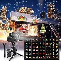 圣誕投影儀燈,Maxcio LED 投影儀燈,適合萬圣節、圣誕節、感恩節、生日、15 動態膠片、2018 新節日裝飾燈,室內/室外使用防水,6W