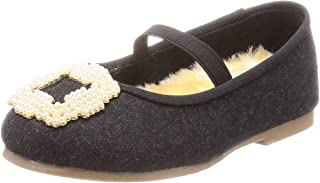 [MENEO] 珍珠调色 带宝石ver. 橡胶皮带 皮草鞋垫 圆头 平跟 儿童 芭蕾舞鞋 11017kids02p4016021