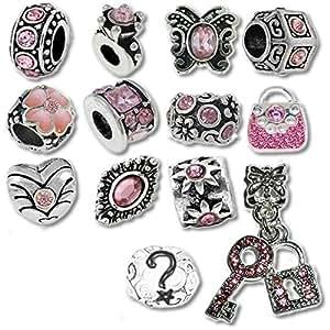 欧洲魅力手链饰物和珠子适合女士和女孩首饰,诞生石 粉色 ZASRC-15