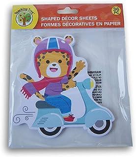 教学树纸形装饰纸 - 滑板车上的豹纹 - 36 张