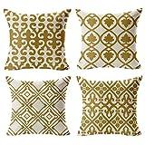 "WOMHOPE 4 件套 43.18cm 复古橄榄色和金色几何图案棉麻方形抱枕枕套靠垫套装饰抱枕套,沙发 Gold Set of 4 Pcs 17"" WXJJ0281-4"