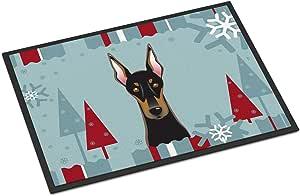 Caroline's Treasures 冬季假日多布曼室内或室外垫,18 x 27 英寸(约 45.7 x 68.6 厘米),多色