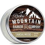 Rocky Mountain Barber Company 男士剃须膏 - 含天然檀香精油 - 141.75 毫升保湿、防*丰富和厚泡沫,适合敏感肌肤及所有皮肤类型 - 141.75 克