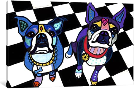 iCanvasART HGL87 Boston Terriers 2 Dogs by Heather Galler Canvas Print, 26-Inch by 18-Inch, 0.75-Inch Deep