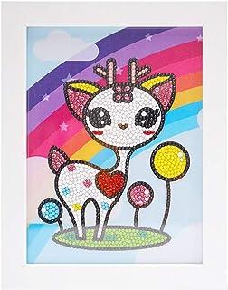 5D 儿童钻石绘画套装,钻石Dotz 套装,带框架,全钻画数字套件,适合儿童初学者礼物 7X9 英寸(小鹿)