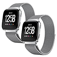 PUGO TOP Fitbit Versa 女式手环 小号 大号 磁力米兰色环 不锈钢金属网格替换手环 Fitbit Versa 健身智能手表运动配件腕带