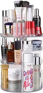 Jerrybox 化妆盒 360 度旋转可调节多功能化妆盒,大容量,7 层,适合碳粉、奶油、化妆刷、唇膏等(白色)