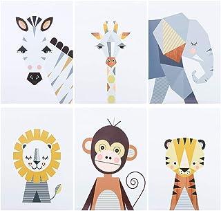 CEREALY 托儿所墙壁装饰 6 件林地动物墙壁艺术帆布印刷艺术墙装饰 适用于客厅卧室托儿所办公室