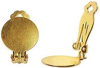 Beadaholique EA8133GP 夹式耳环配件,带衬垫,用于粘合,18 毫米,22K 金,3 对