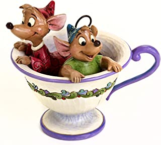 "Disney 传统 jim shore ""灰姑娘""爵士和格斯茶杯石树脂雕像,10.80 cm"