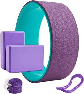 NewZhu 瑜伽 5 合 1 套装瑜伽轮 / 滚轮 适用于背部* 13 x 5 英寸(约 33.0 x 12.7 厘米),2 个 EVA 泡沫瑜伽块,1 个筋膜拉伸环普拉提环,1 个瑜伽拉伸带,瑜伽姿势背部弯曲拉伸普拉提冥想
