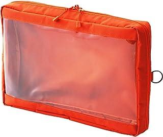 Lihit lab. Clear Box 收纳袋 本体サイズ:350x250x60mm A4 橙色
