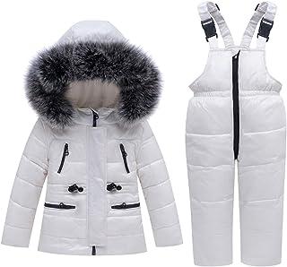 儿童冬季羽绒夹克和雪裤 2 件套雪地服Skisuit 套装