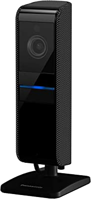 Panasonic HomeHawk Shelf 室内智能小型家用监控相机宽角,1080P 高清视频,无需每月付费,本地SD存储,夜视,双向对话 (KX-HNC810G)