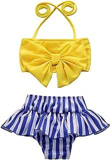 YOUNGER TREE 女童泳装蝴蝶结露背条纹荷叶边泳衣比基尼套装夏季套装
