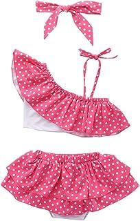 女婴泳衣单肩荷叶边粉色圆点上衣和比基尼裙,带头带,2件套泳装