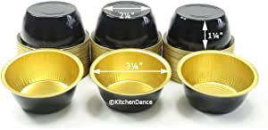 KitchenDance 一次性铝合金 113.4 克 Ramekins - 100 支装 - 可选颜色和盖子 Black w/Gold Interior Without Lids ALU-50