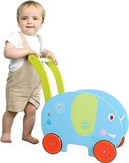 labebe - 女孩和男孩婴儿学步车玩具,儿童推/拉推车,4 轮学习学步车,大象推车玩具推车 蓝色