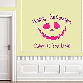 Vinylsay h.0013Pumpkin-M.Dark Pink-15x13 Happy Halloween Enter If You Dare Wall Decal, 15 by 13-Inch, Matte Dark Pink
