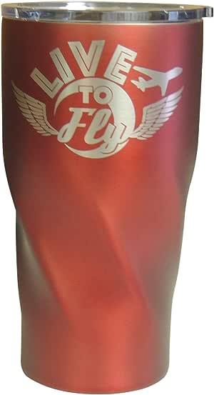 "Live to Fly 不锈钢保温玻璃杯,飞行员礼物,20 盎司 红色 7 """