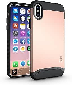 iPhone Xs 手机壳,iPhone X 手机壳,TUDIA 纤薄贴合重型【合并】*保护/坚固但纤薄双层手机壳适用于苹果 iPhone X 2017 和 iPhone Xs 5.8 英寸 2018 发布TD-TPU3925 玫瑰金