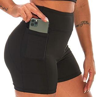 CAFELE 健身瑜伽短裤,高腰口袋,防透裤