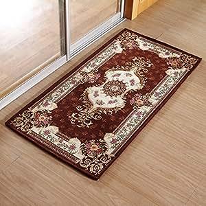 嘉博朗欧式地毯地垫门垫客厅卧室沙发毯家用脚垫子防滑耐脏165红咖啡色约40*60CM …