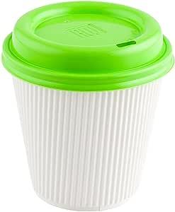 咖啡杯盖 - 石灰绿 - 塑料 - 一次性 - 适合 8,12 和 16 盎司咖啡杯 - 500 盒 - 餐馆用品