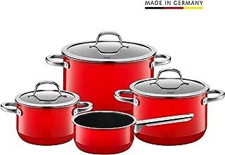 Silit 锅具4件套,带玻璃盖,锅具套装,希拉钢功能陶瓷,锅底感应,燃情红色