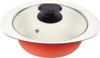 珍珠金属(PEARL METAL) 双手锅 18cm 陶瓷加工IH对应玻璃带盖桌面锅 微笑壶 橙色 18cm HB-4025