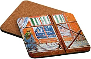 "Rikki Knight ""Vincent Van Gogh Art a Pork Butchers Shop Design"" Square Beer Coasters"