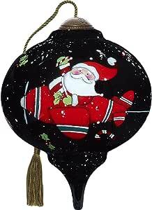 珍贵的瞬间,Ne'Qwa Art 7171144 手绘吹制玻璃小型 Marquis 形状圣诞老人飞行装饰品,7.62 厘米