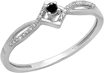 0.15 Carat (ctw) 10k White Gold Round Black And White Diamond Ladies Promise Engagement Ring (Size 7)