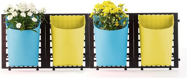 Greemotion 垂直墙面花圃花盆–装饰性花盆,蓝色与黄色,适合节约空间草本植物的种植–4 盆壁挂花盆