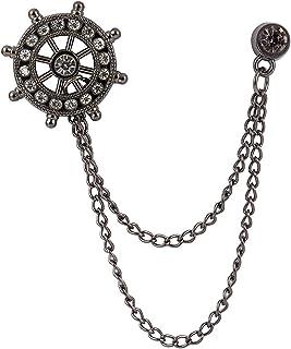 AN KINGPiiN 黑色轮子带宝石细节翻领别针,胸针西装铆钉,衬衫铆钉男士配饰