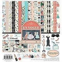 Carta Bella Paper Company CBEV103016 En Vogue 系列套件紙張,粉色,*,青色,黑色