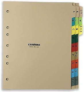Carstens 重型塑料字母表分隔套装,21 个标签,多色,用于侧开 3 个环活页夹