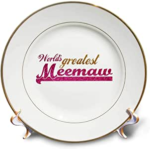 "InspirationzStore 排版 - Worlds Greatest Meemaw - 粉红色和金色文字 - 送给祖母的礼物 - *好的祖母昵称 - 盘子 8"" cp_151309_1"