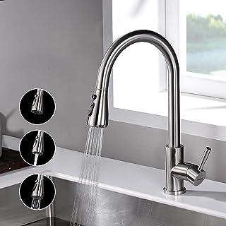 Ibergrif M22137 水槽龙头 带伸缩淋浴 厨房龙头 钢材质 银色