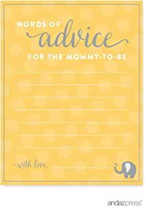 Andaz Press Yellow Gray Gender Neutral Elephant Baby Shower Collection, Games, Activities, Decorations, Advice for Mom & Dad Cards, 20-pack