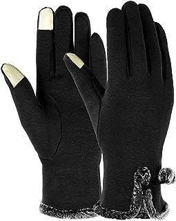 VANGETIMI 女式冬季触屏手套保暖羊毛内衬防风短纹女士手套