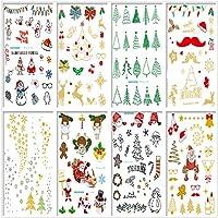 8 张圣诞临时纹身套装 圣诞快乐 贴纸 临时纹身 儿童派对 男孩和女孩不同图案
