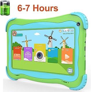 儿童平板电脑,大型电池 7 英寸安卓儿童平板电脑带 1G Ram 16GB 存储**保护IPS 屏幕高级家长控制预安装教育应用谷歌 Play
