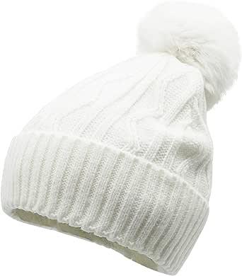 女士/女孩人造毛皮绒毛毛边翻边冬季无檐小便帽