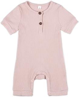 婴儿幼儿棉质短袖针织连衫裤,中性款婴儿连体衣