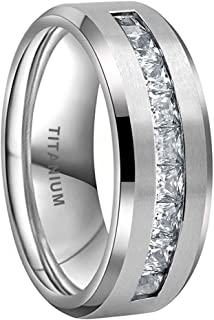 iTungsten 8 毫米钛戒指男女通用永恒婚礼订婚戒指白色/蓝色公主方方晶锆石镶嵌斜边哑光表面舒适贴合