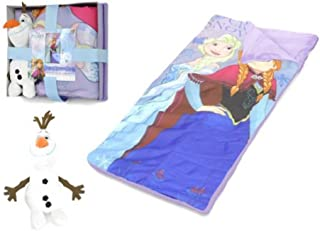 Elsa and Anna 儿童睡袋 带Olaf 人物枕头